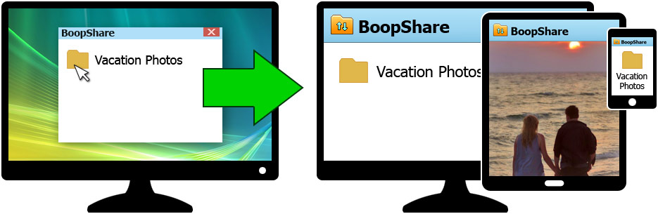 The BoopShare app lets you put files and folders on the Web, so they can be viewed and downloaded with any device
