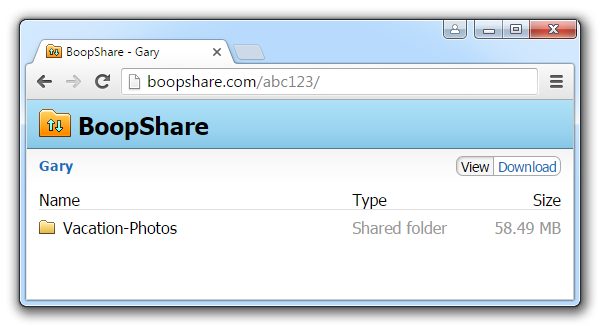 BoopShare in Web browser screenshot